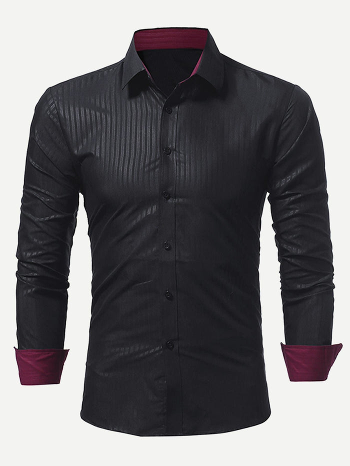 Dress Shirts For Men - Men Contrast Trim Striped Shirt