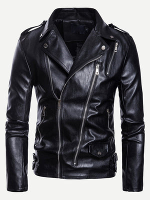 Casual Jackets - Men Oblique Zipper Solid PU Biker