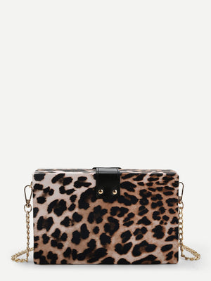 Wristlets - Leopard Pattern Chain Crossbody Bag