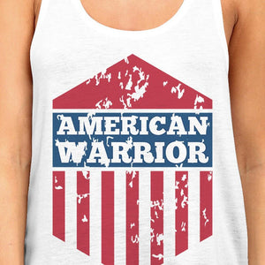 American Warrior Womens White Crewneck Graphic Tanks Gift For Her