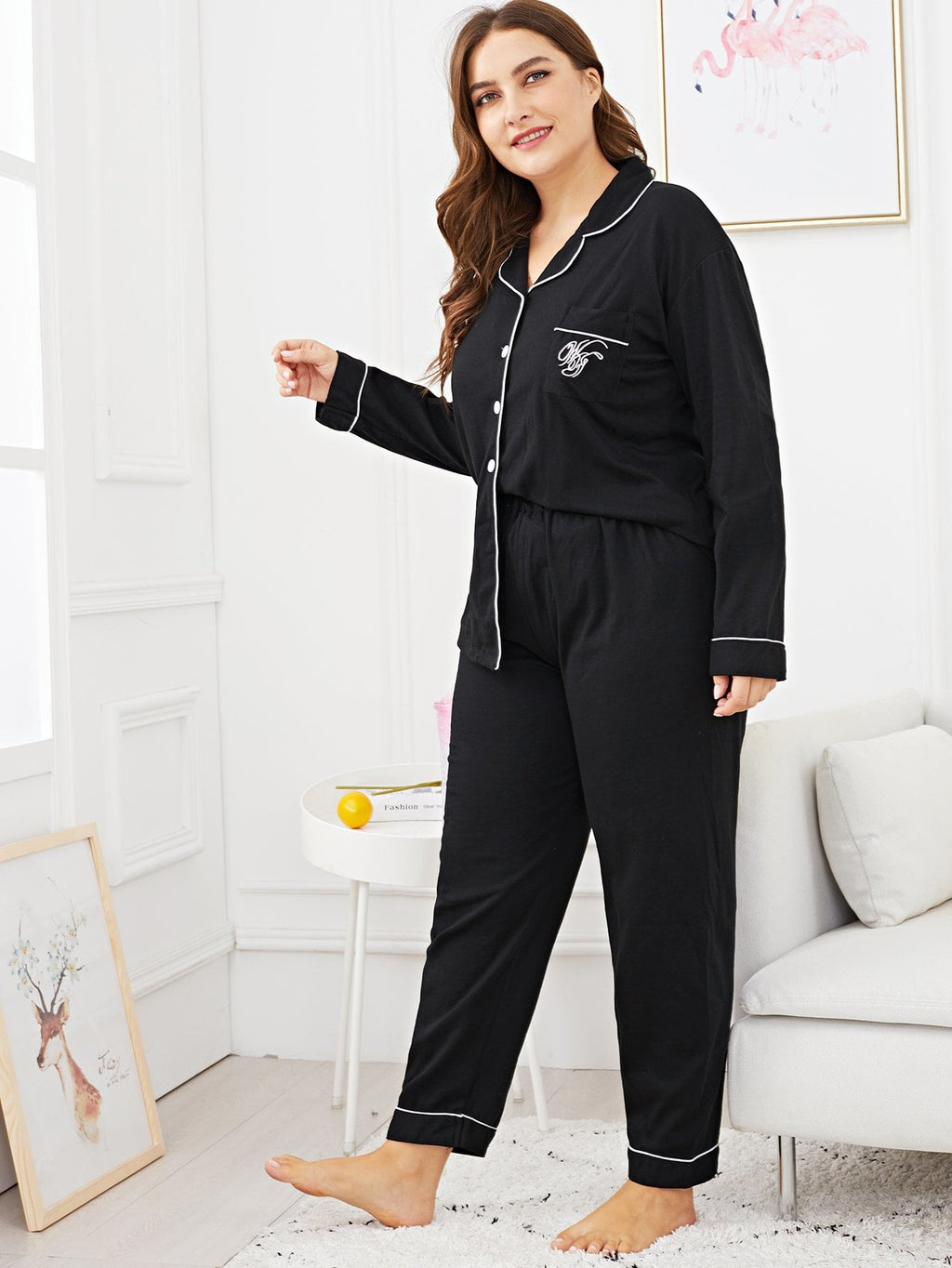 Pajama Set - Plus Letter Embroidered Pocket Front
