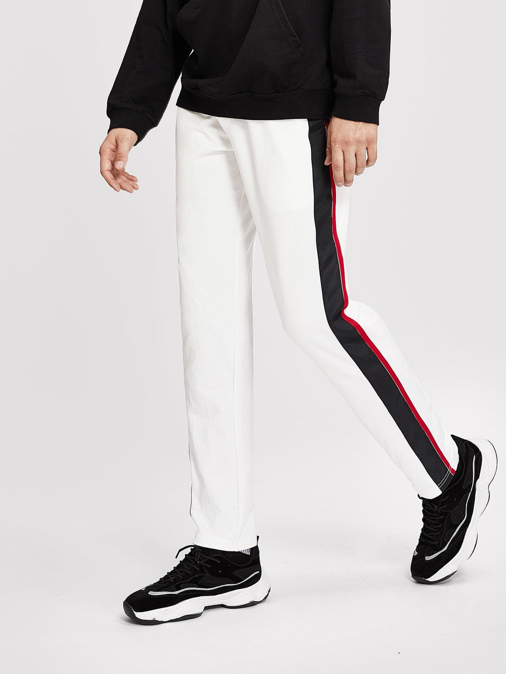 Sports Tights For Men - Contrast Sideseam Pants