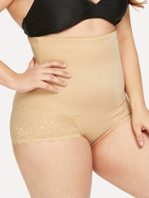 Plus Size Shapewear - Plus Scalloped Trim Panty