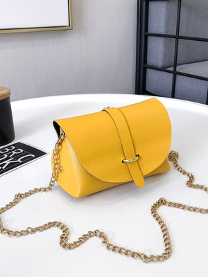 Ladies Bags - Metal Detail Flap PU Chain Bag