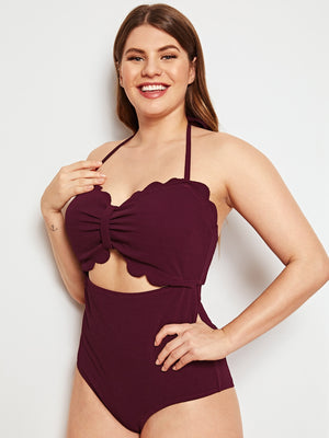 Plus Scalloped Trim Cut-out One Piece Swim