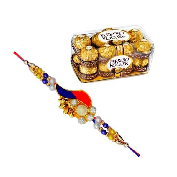 Online Rakhi - Zardosi Rakhi With 16 Pcs Ferrero Rocher Box