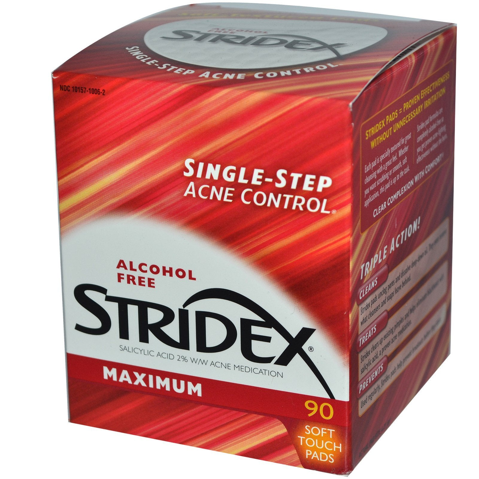 Stridex, Single-Step Acne Control, Maximum, Alcohol Free, Soft Touch Pads
