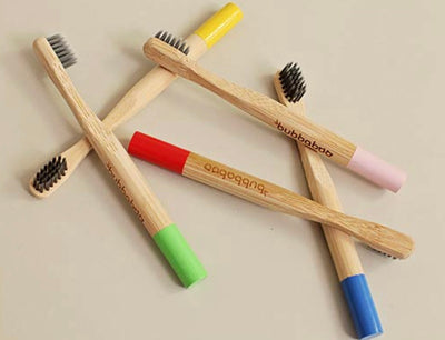Bubbaboo child bamboo toothbrush with soft charcoal infused bristle
