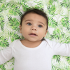 Bamboo Leaf Print Fitted Cot Bed Sheet