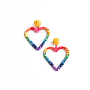 Rainbow Beaded Hearts