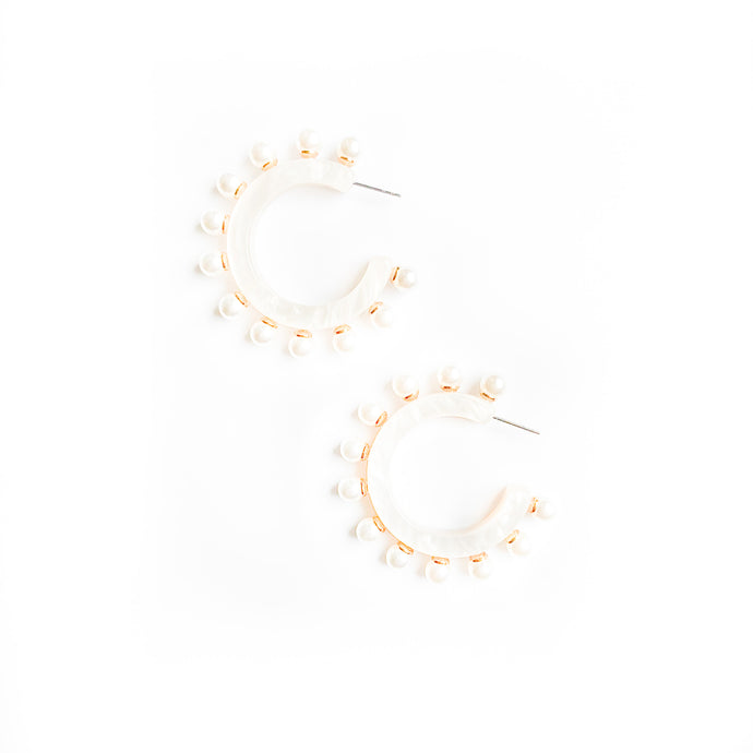 White stud hoops