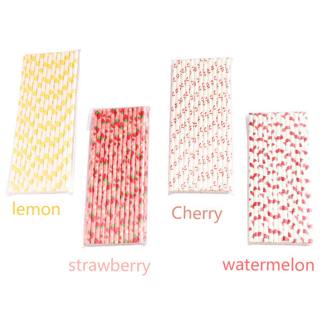 100 Pcs Fruit Patterned Paper Drinking Straws