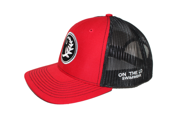 Unisex Hat Snapback Mesh On the Lo Cap -  Red and Black - On The Lo Swimwear
