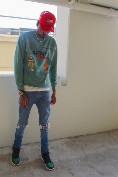 COV distressed crew neck