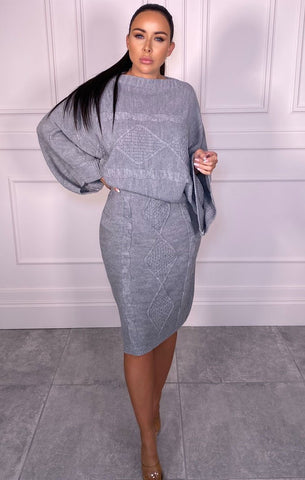 grey knit cable midi skirt set co-ord