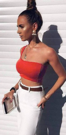 red-one-shoulder-crop-top