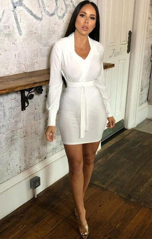 White Long Sleeved Bodycon Dress