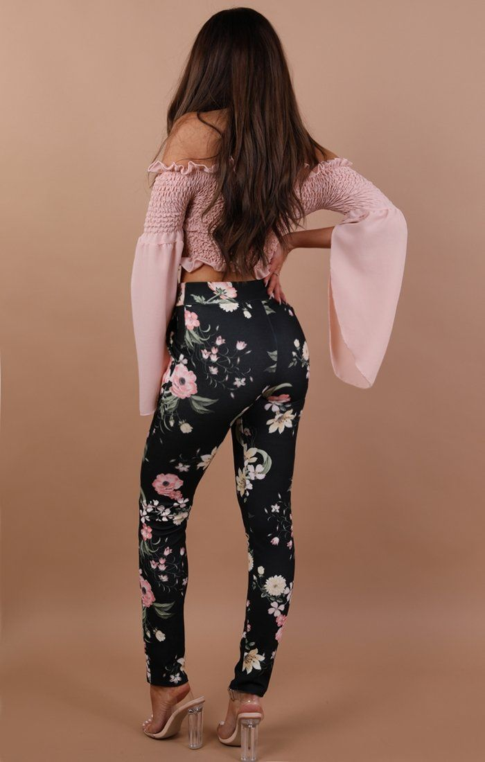 Black Floral Slim Fit Trousers - Adrianna