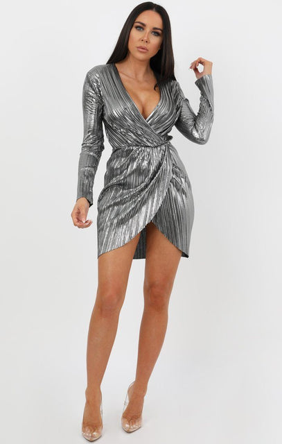 Grey Pleated Wrap Dress - Violet
