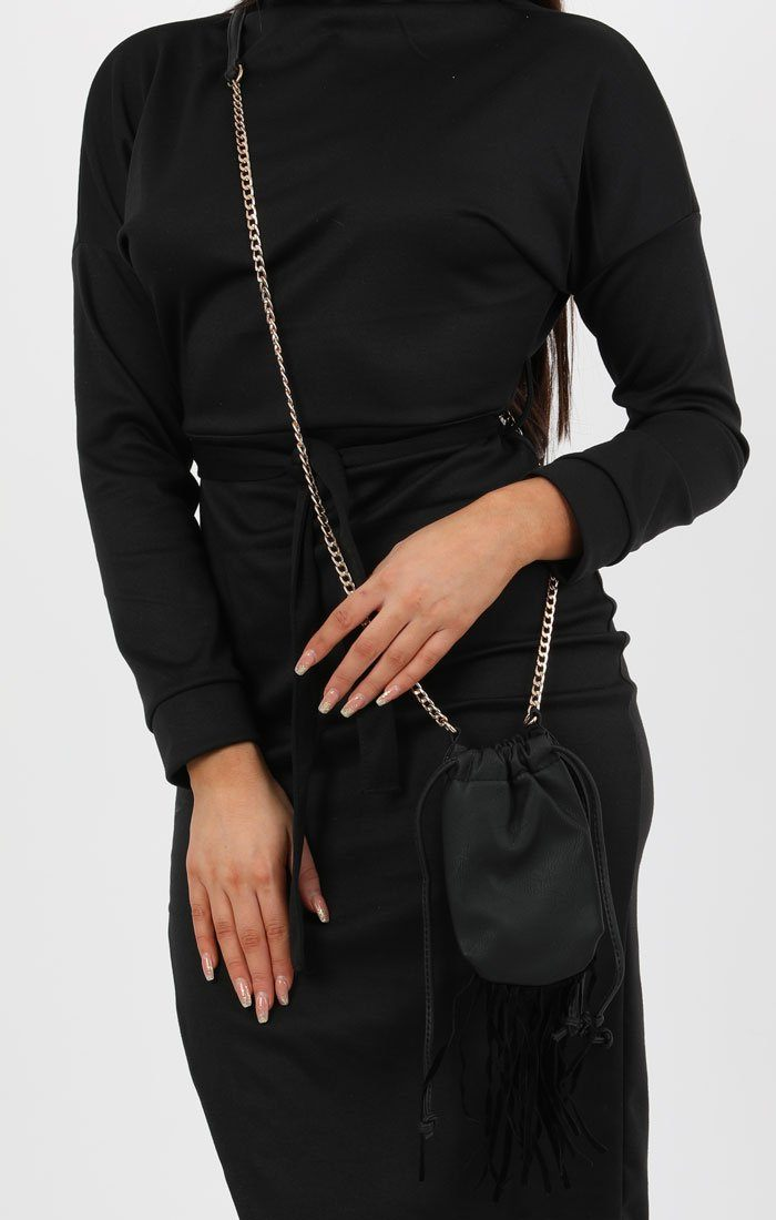 Black Tassels Pouch Bag - Sophie