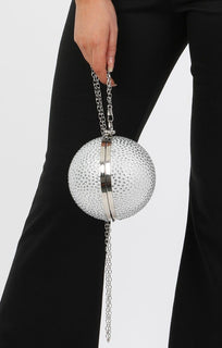 Silver Diamante Spherical Clutch Bag - Nicolle