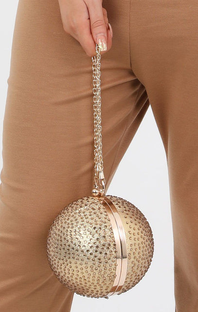 Gold Diamante Spherical Clutch Bag - Nicolle