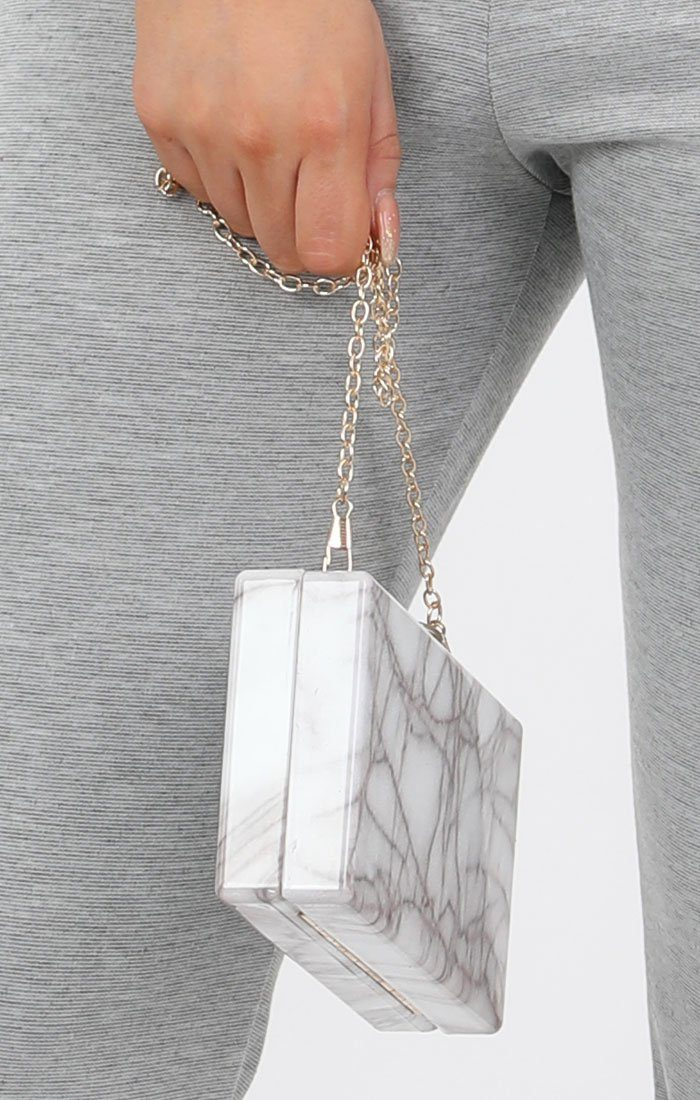 White Marble Square Acrylic Clutch Bag - Cora