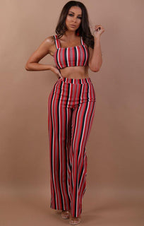 Red Striped Two Piece Co-ord Set - Katie