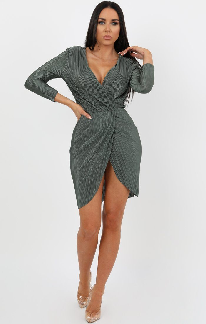 Khaki Pleated Wrap Dress - Violet