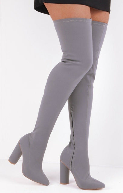 Grey Lycra Over The Knee Sock Boots