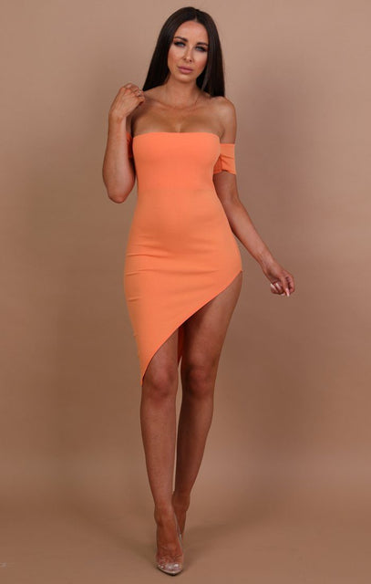 Orange Off The Shoulder Short Sleeve Dress - Camila