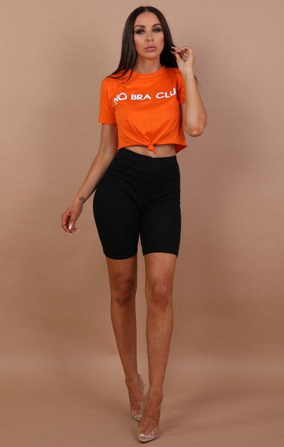 Orange No Bra Club Print Crop Top - Kendall