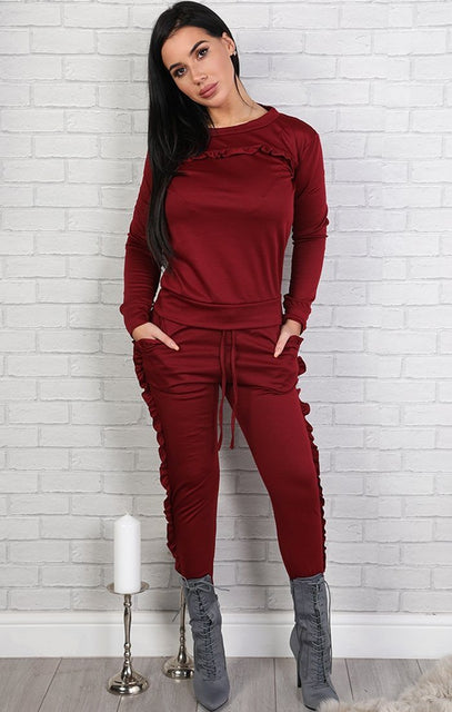 Wine Frill Loungewear Set - Faye