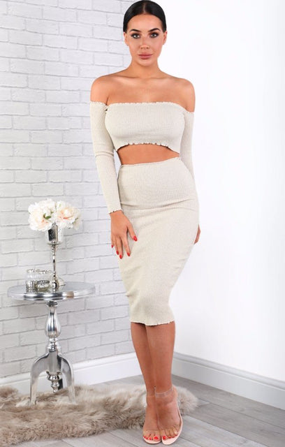 Champagne Sparkle Ribbed Bodycon Midi High Waist Skirt