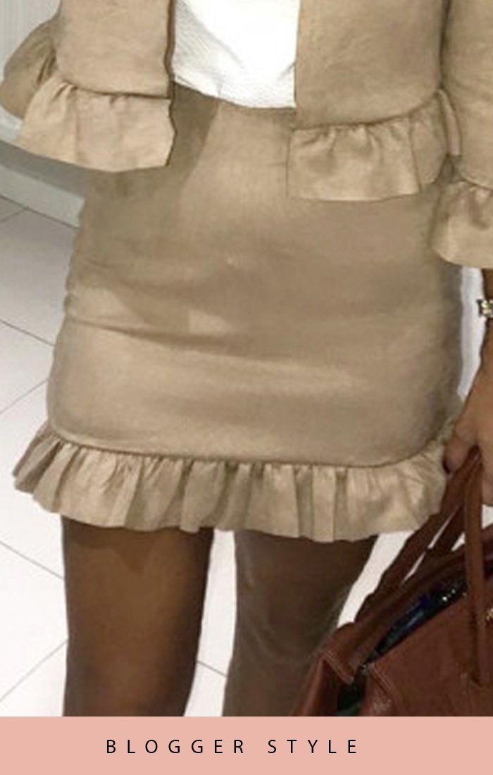 Beige Suede Frill Hem Mini High Waist Skirt
