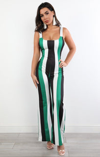 Green Stripe Jumpsuit - Connie