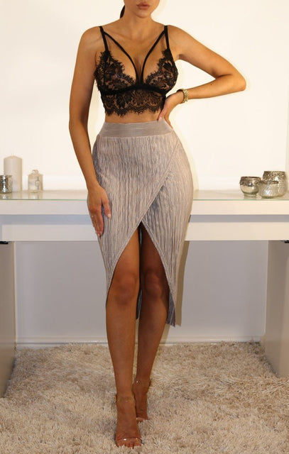 Silver Pleated Wrap Over High Waist Skirt