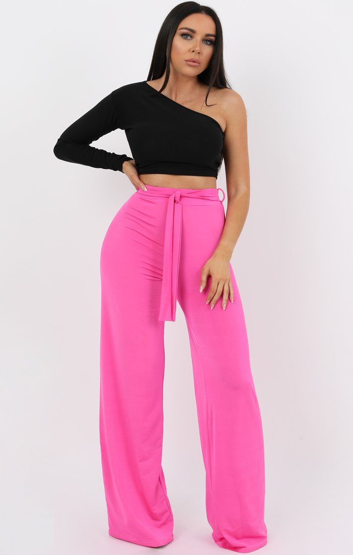 Pink Slinky High Waisted Trousers - Jenna