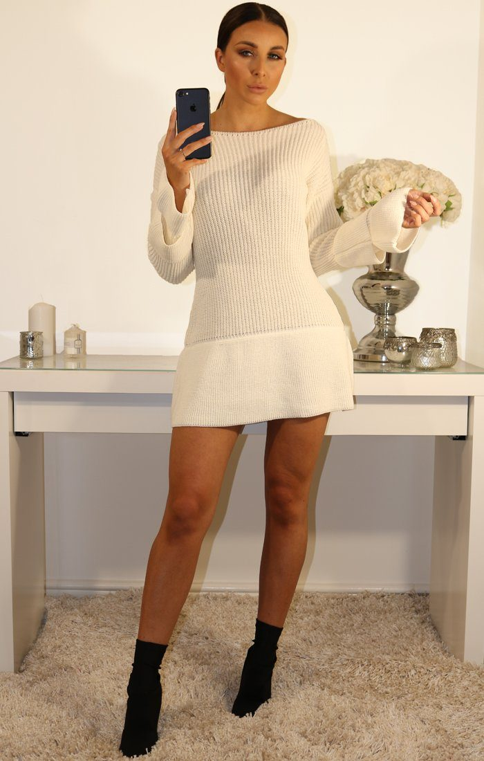 Cream Bell Sleeve Extreme Hem Knit Jumper Dress