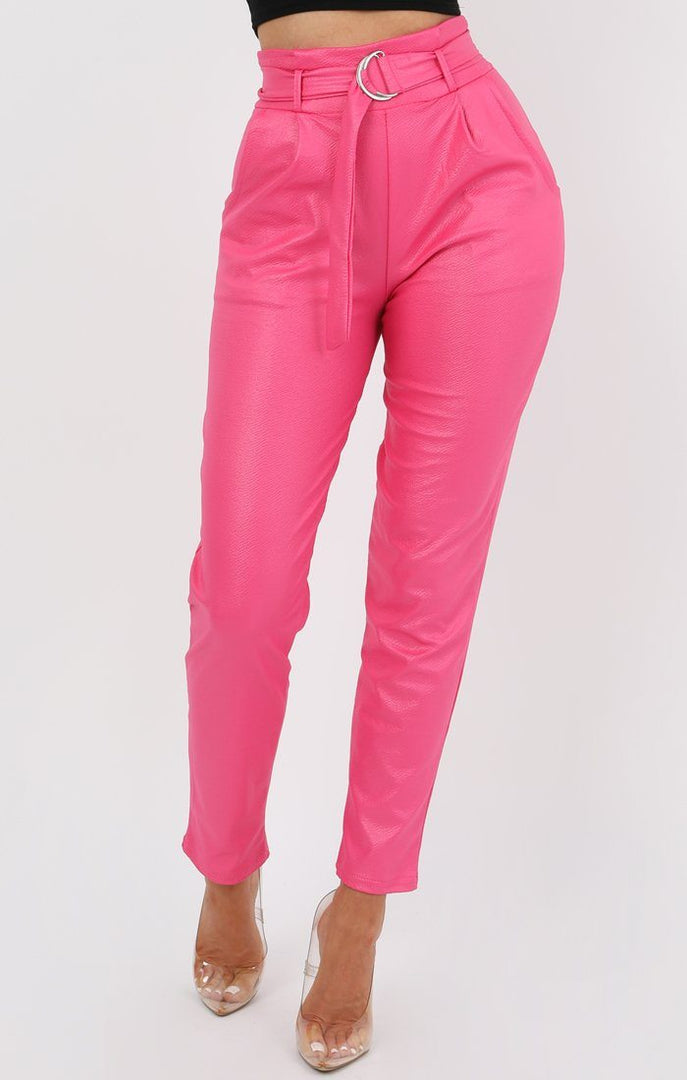 Hot Pink Leather Look Trousers - Arya