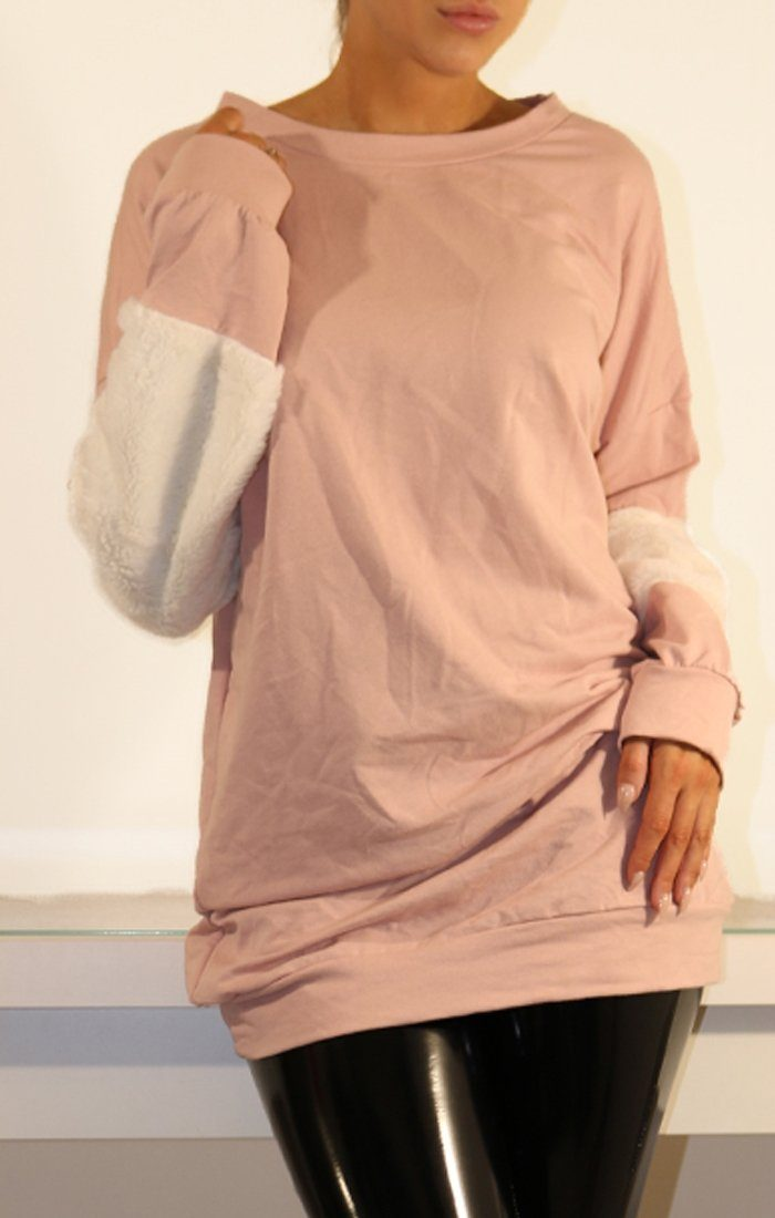 Rose Oversized Faux Fur Panel Jumper Dress