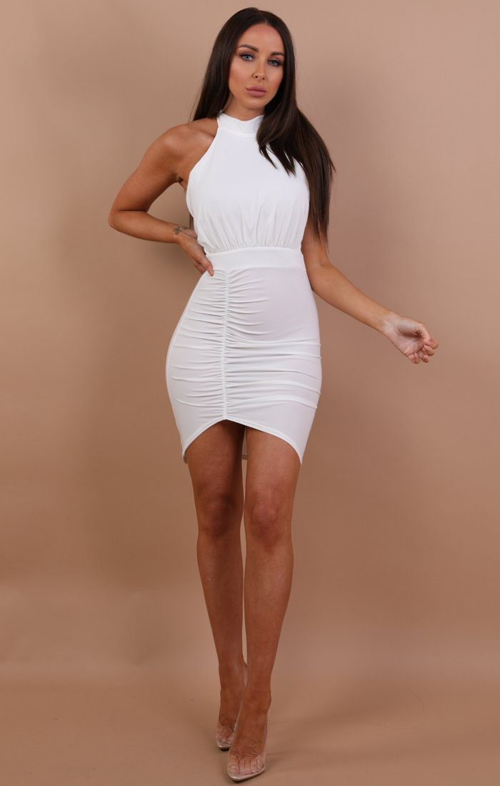 White-ruched-lace-up-bodycon-dress-mia