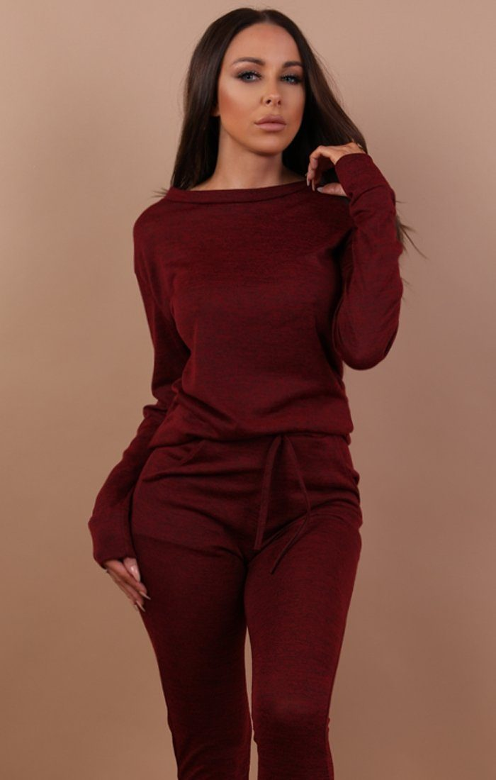 Wine Loungewear Tracksuit Set