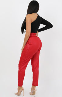 Red Leather Look Trousers - Arya
