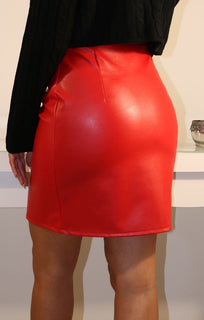 Red Faux Leather Zip Front High Waist Skirt