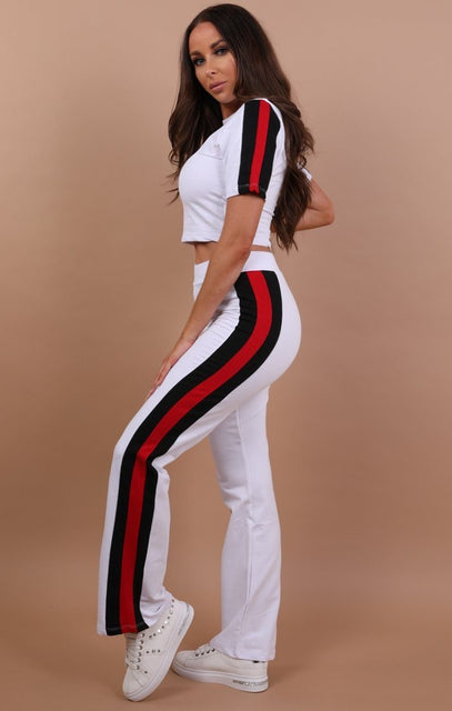 White With Red And Black Stripe Loungewear Set - Zoe