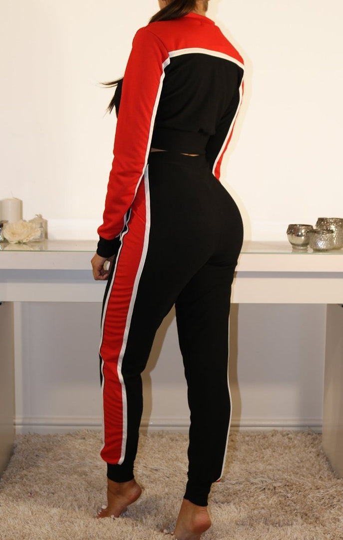BLACK AND RED CROPPED TRACKSUIT