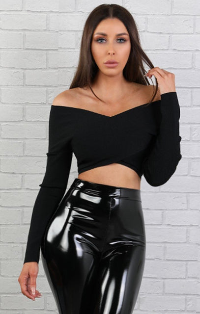 Black Bardot Long Sleeve Crop Top - Daisy