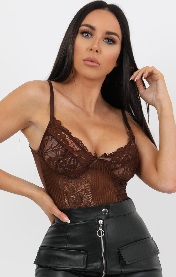 Brown Floral Lace Bodysuit