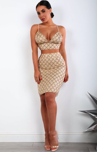 Gold Diamond Glitter Two Piece Co-ord Set